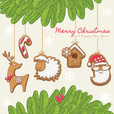 Christmas card with gingerbread cookies. Vector illustration Stock Photography