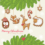 Christmas card with gingerbread cookies. Vector illustration Royalty Free Stock Images