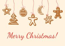 Christmas card with gingerbread cookies Stock Photo