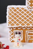 Christmas card with gingerbread house little snowman Royalty Free Stock Images