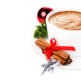 Christmas card with Gingerbread Man and hot chocolate,  cinnamon Stock Photos