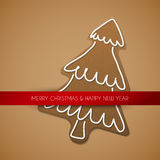 Christmas card - gingerbread tree Stock Photos