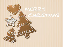 Christmas card - gingerbreads Royalty Free Stock Photography