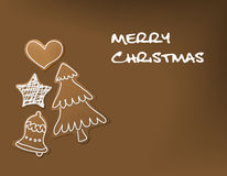 Christmas card - gingerbreads with white icing Royalty Free Stock Photos