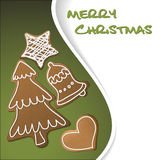 Christmas card - gingerbreads with white icing Stock Images