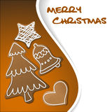 Christmas card - gingerbreads with white icing Royalty Free Stock Photography