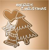 Christmas card - gingerbreads with white icing Royalty Free Stock Images