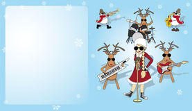 Christmas card with girl, snowman and reindeer Stock Image