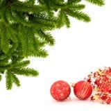 Christmas card. With glass balls Stock Photo