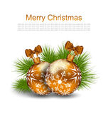Christmas Card with Glass Balls and Fir Twigs Stock Photo