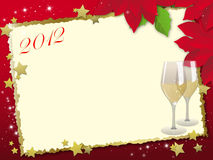 Christmas card with glasses Stock Images