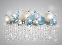 Christmas card with a glowing garland. Bright stars and balls fo vector illustration