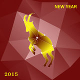 Christmas card with a goat. Beautiful polygonal goat on a Christmas card. Polygon red background Stock Image