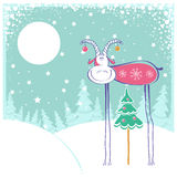 Christmas card with goat in winter landscape. Christmas background with goat and snow frame.Comedy greeting card Stock Illustration