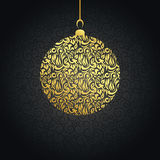 Christmas card with gold ball Royalty Free Stock Images
