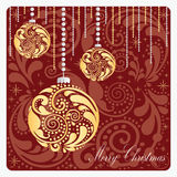 Christmas card with the gold balls. Stock Photography