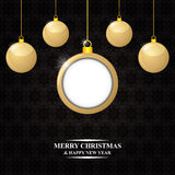 Christmas card with gold balls Royalty Free Stock Images