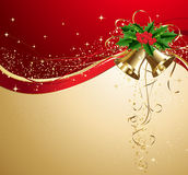 Christmas card with gold bells and holly Stock Image