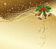 Christmas card with gold bells and holly Royalty Free Stock Images