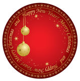 Christmas vector card with gold decorations Stock Photography