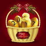 Christmas card with gold eggs and baby chicken. Vector Christmas card with a basket of Golden eggs, chicken, and an inscription a happy New year Royalty Free Stock Photos