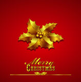 Christmas Card with Gold Holly on a Red Background. Merry Christmas Card Gold Holly on a Red - Background with hand drawn typefaces  - All items are on Royalty Free Stock Images