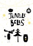 Christmas card gold Jingle Bells bear moose bird royalty free illustration
