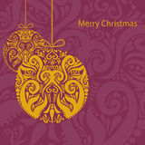 Christmas card with gold ornament  ball Stock Photos