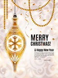 Christmas card. Gold ornamental xmas ball, ribbons and pearls. Background with bokeh lights Vector Illustration