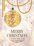 Christmas card. Gold ornamental xmas ball, ribbons and pearls. Background with bokeh lights Royalty Free Illustration