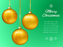 Christmas card with gold pendants in the shape of a ball. Decorate fir, snowflakes, snowman, reindeer. Classical green background Royalty Free Stock Photography