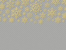 Christmas card with gold snowflakes. Elements for New Year holiday design template. EPS 10 stock illustration