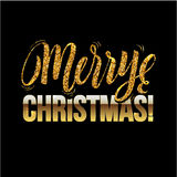 Christmas card Gold sparkles on black background. glitter and Calligraphy Greeting X-MAS. Royalty Free Stock Image