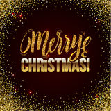 Christmas card Gold sparkles on black background. glitter and Calligraphy Greeting X-MAS. Stock Image