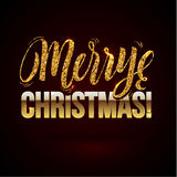 Christmas card Gold sparkles on black background. glitter and Calligraphy Greeting X-MAS. Stock Photography