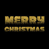 Christmas Card Gold Sparkles on Black Background. Glitter and Calligraphy Greeting X-MAS Poster Stock Image