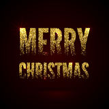 Christmas Card Gold Sparkles on Black Background. Glitter and Calligraphy Greeting X-MAS Poster Stock Photography