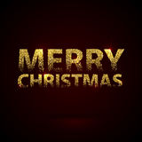 Christmas Card Gold Sparkles on Black Background. Glitter and Calligraphy Greeting X-MAS Poster Royalty Free Stock Photography