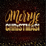 Christmas card Gold sparkles on black background. Gold glitter and Calligraphy Background. Greeting Card X-MAS Royalty Free Stock Image