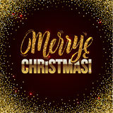 Christmas card Gold sparkles on black background. Gold glitter and Calligraphy Background. Greeting Card X-MAS Stock Photography