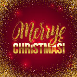 Christmas card Gold sparkles on Red background. Gold glitter and Calligraphy Background. Greeting Card X-MAS Royalty Free Stock Photos