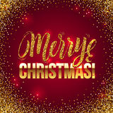 Christmas card Gold sparkles on Red background. Gold glitter and Calligraphy Background. Greeting Card X-MAS. Stock Photography
