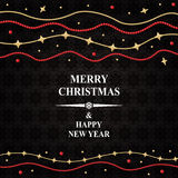 Christmas card with gold star beads garland Royalty Free Stock Images