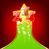 Christmas card. With a gold star and the numbers 2014. Red background with a green ribbon Royalty Free Stock Photo