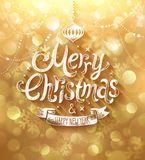 Christmas card with golden background. Stock Photos
