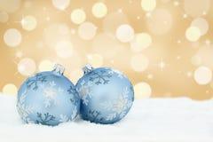 Christmas card golden balls background decoration deco copyspace Royalty Free Stock Photos
