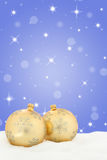 Christmas card golden balls background stars decoration Royalty Free Stock Photo