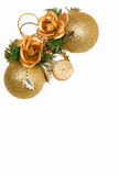 Christmas card with golden balls and candle Stock Photography