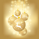 Christmas card with golden balls decorated coat 2015 year symbol. Vector illustrations of Christmas greeting card with golden balls coat 2015 year symbol on Royalty Free Stock Photography