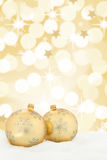 Christmas card golden balls stars background decoration Stock Photo